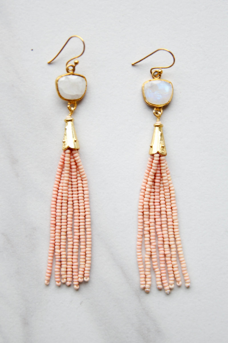 Coral Gem Tassel Earrings