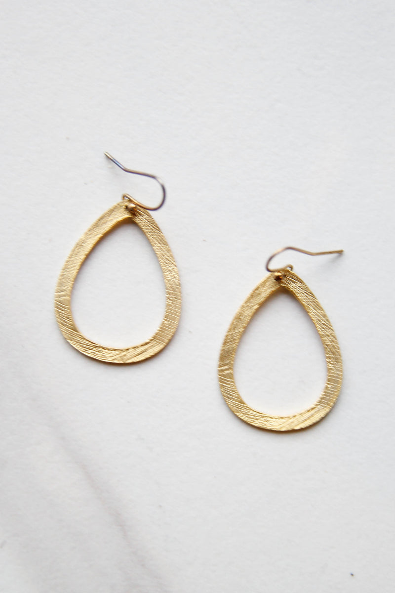 Halo Teardrop Gold Earrings