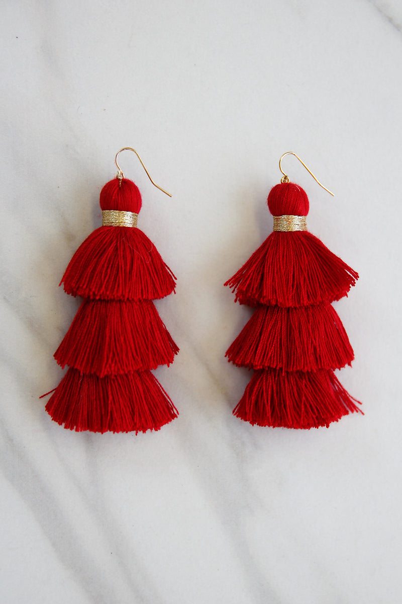 Totally Tasseled Earrings - Red
