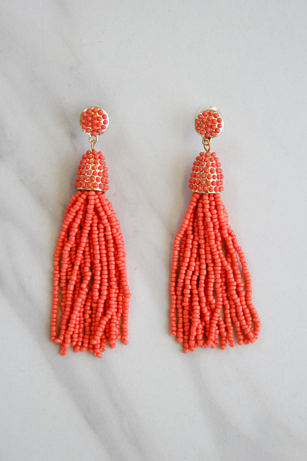 Tassel Parade Beaded Earrings - Coral
