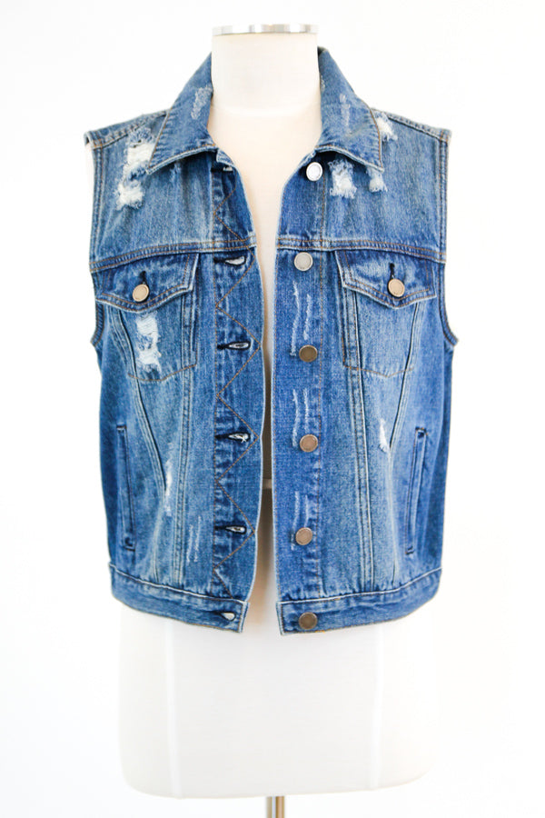 Invested Distressed Denim Vest - Medium Wash