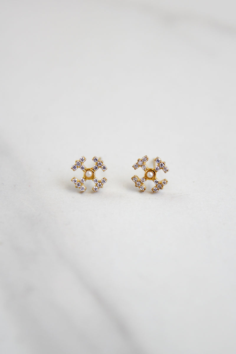 Large English Cross Earrings - Gold