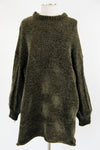 Never Too Cozy Chenille Sweater Dress - Olive