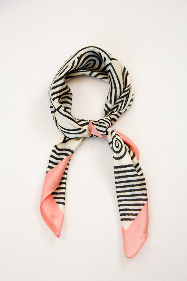 Abstract Silky Scarf - Pink