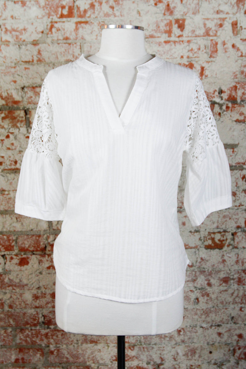 White Crochet Shoulder Blouse