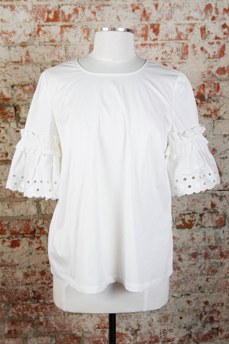 White Open Eyelet Blouse