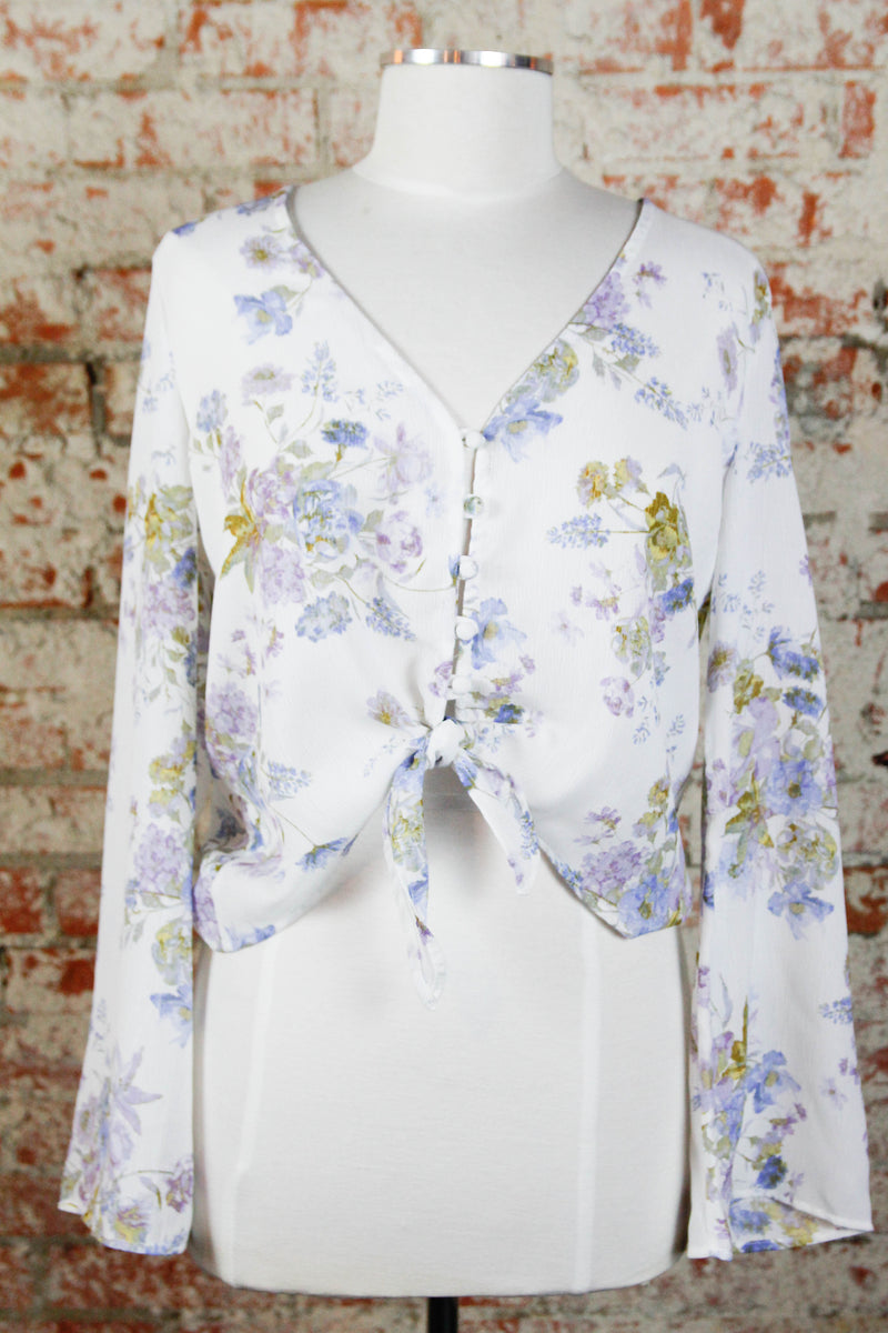 Lavender Floral Button Blouse