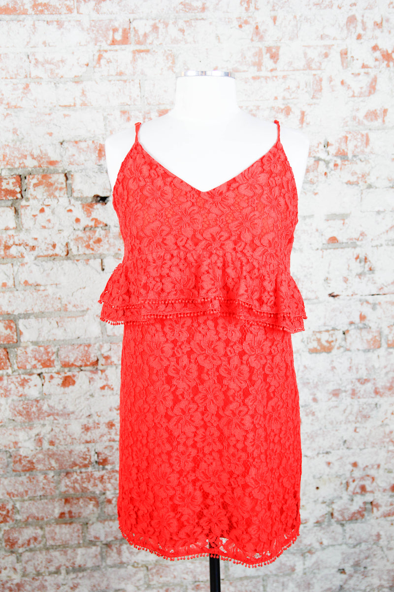 Red Embroidered Peplum Dress