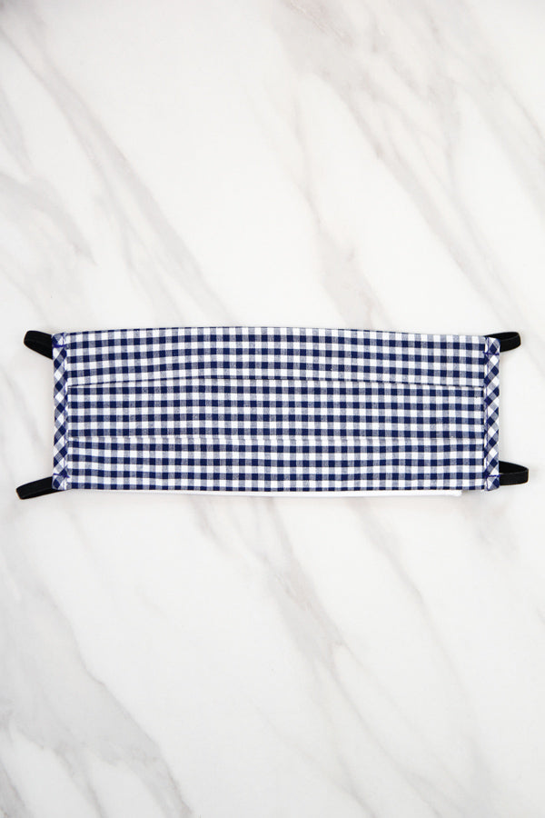 Cloth Face Mask - Navy Gingham