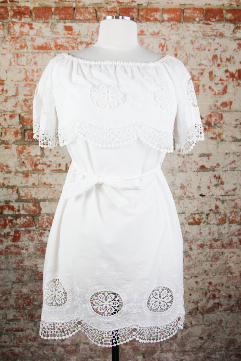 White Crochet Off The Shoulder Dress