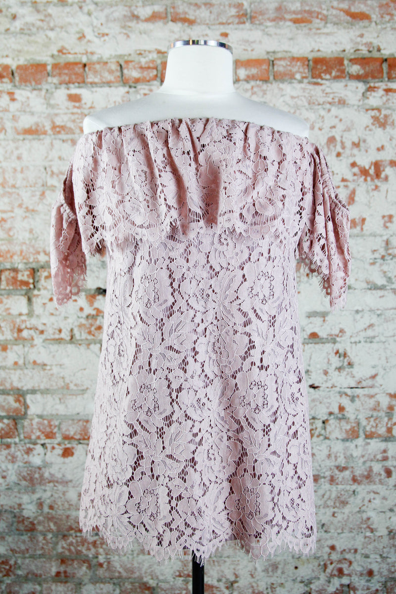 Mauve Crochet All Over Dress