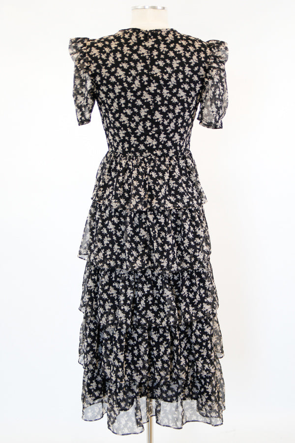 Tea In The Afternoon Midi Dress - Black Floral