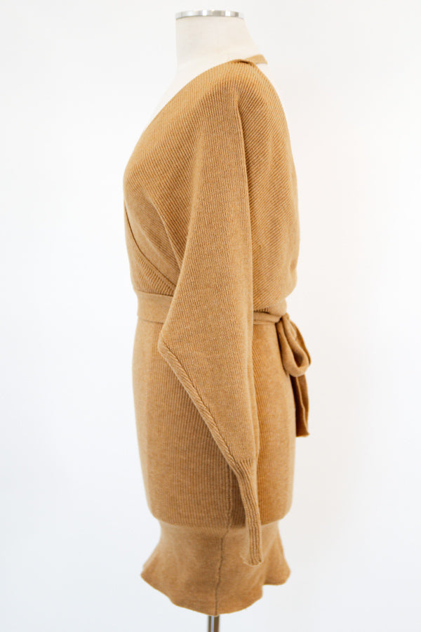 Getting Cozy Sweater Dress - Camel