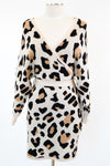 Getting Cozy Sweater Dress - Taupe Leopard