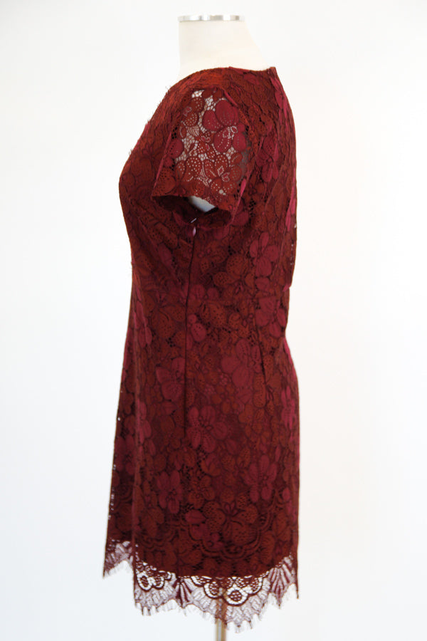 Lace Lace Baby Dress - Burgundy