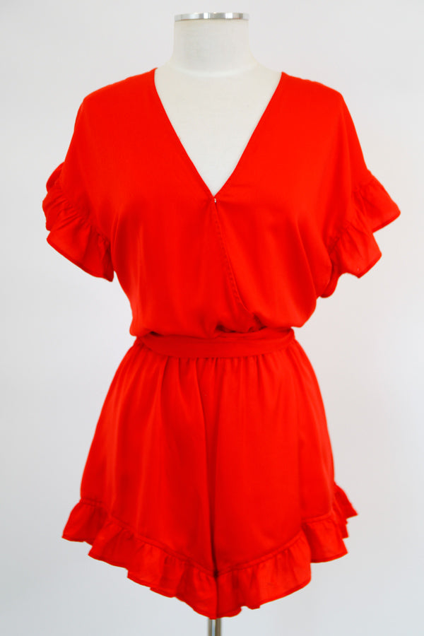 Full Of Life Romper - Flame Red