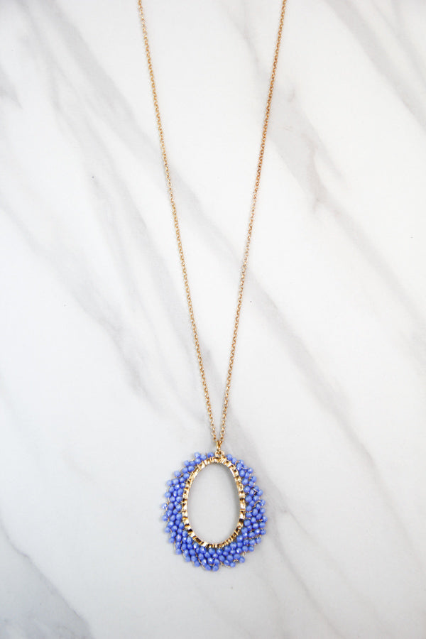 Beaded To Perfection Long Necklace - Periwinkle