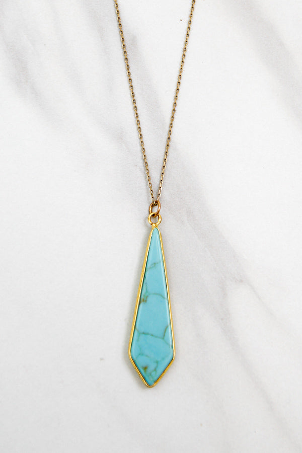Drop In The Ocean Long Necklace - Turquoise