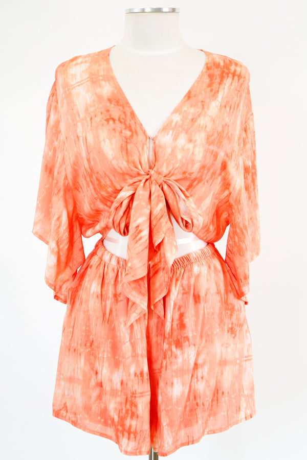Totally Tie Dye Romper - Orange