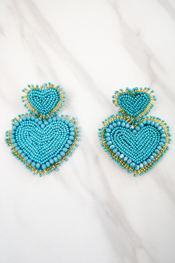 Full Hearts Earrings - Turquoise