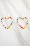 Feel The Love Heart Earrings - Rainbow
