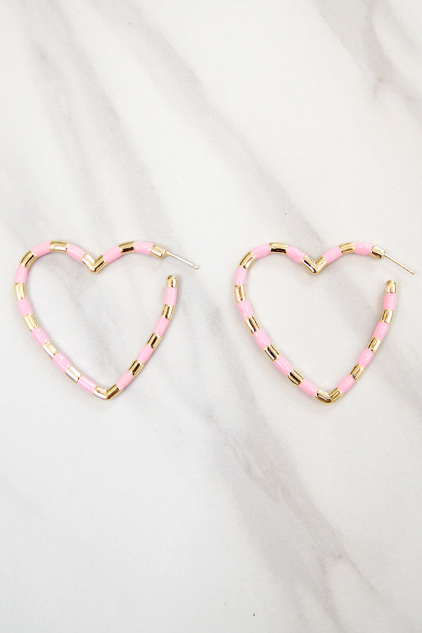 Feel The Love Heart Earrings - Pink