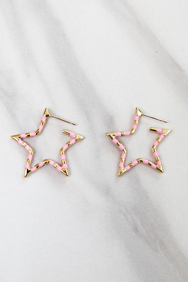 Mini Star Bright Earrings - Pink