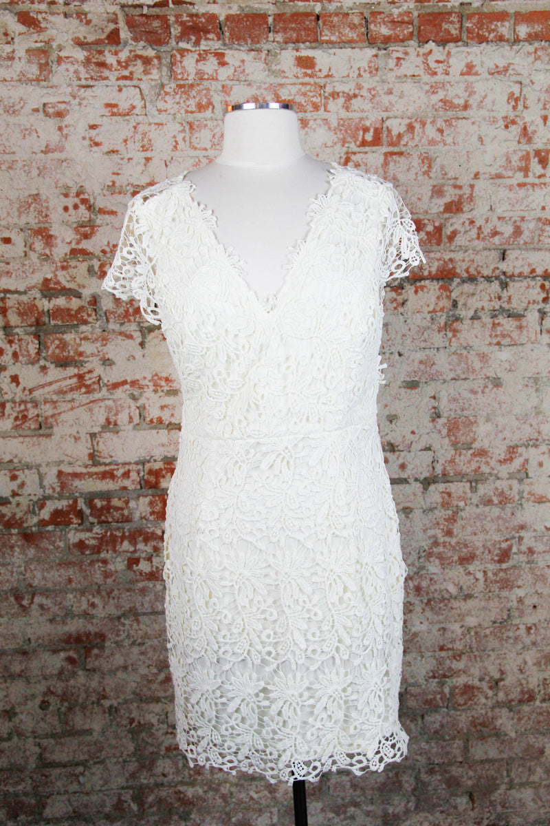 Ivory Crochet Open Back Dress