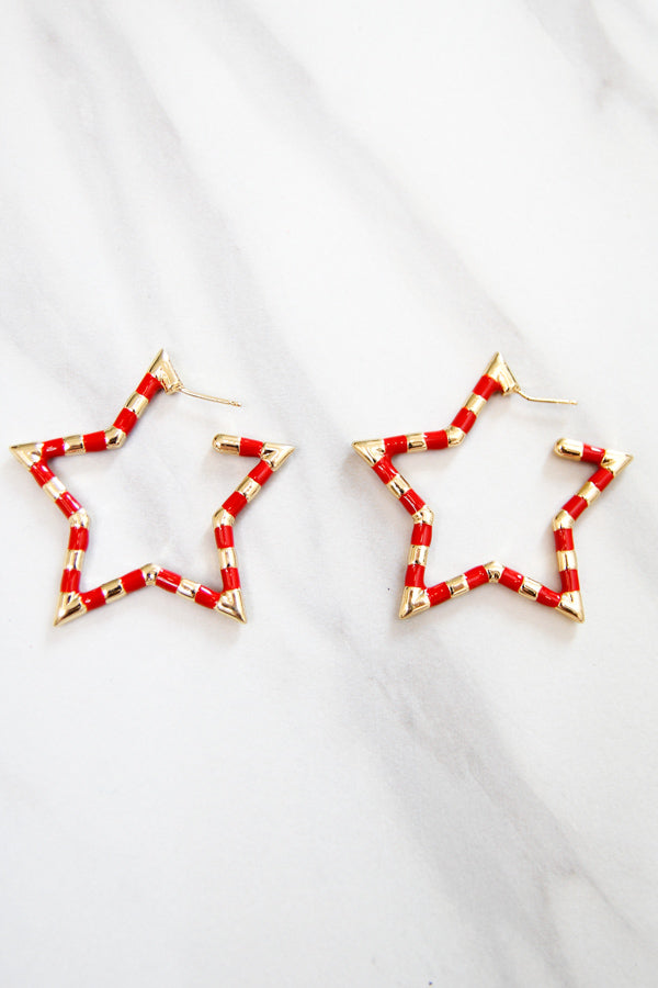 Star Bright Earrings - Red