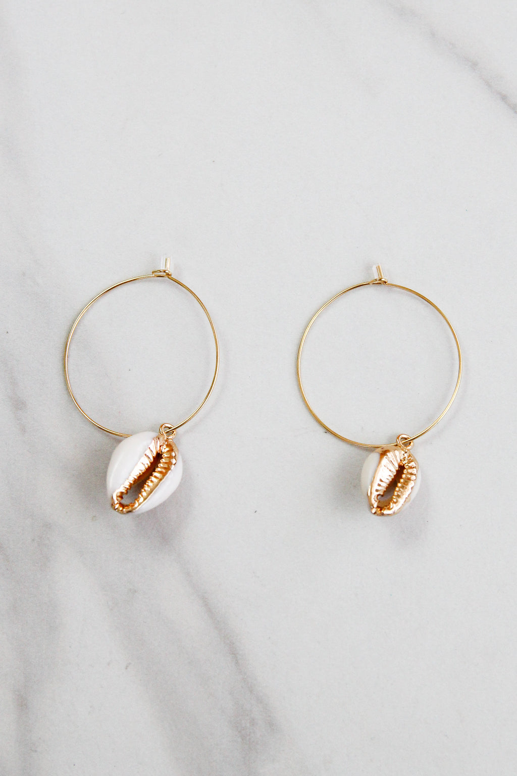 Cowrie Girl Hoops - Gold