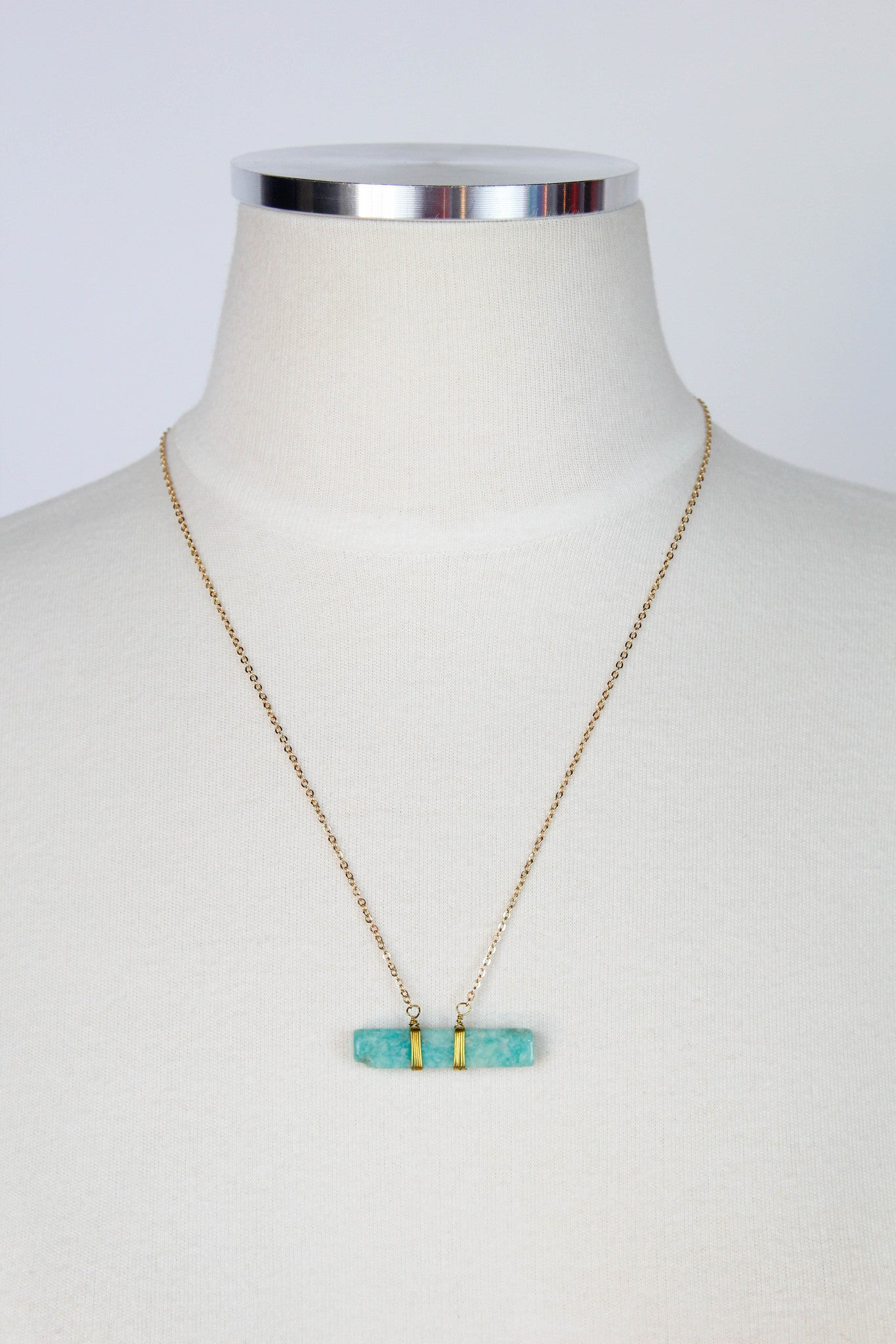 Gold Bar Necklace - Mint