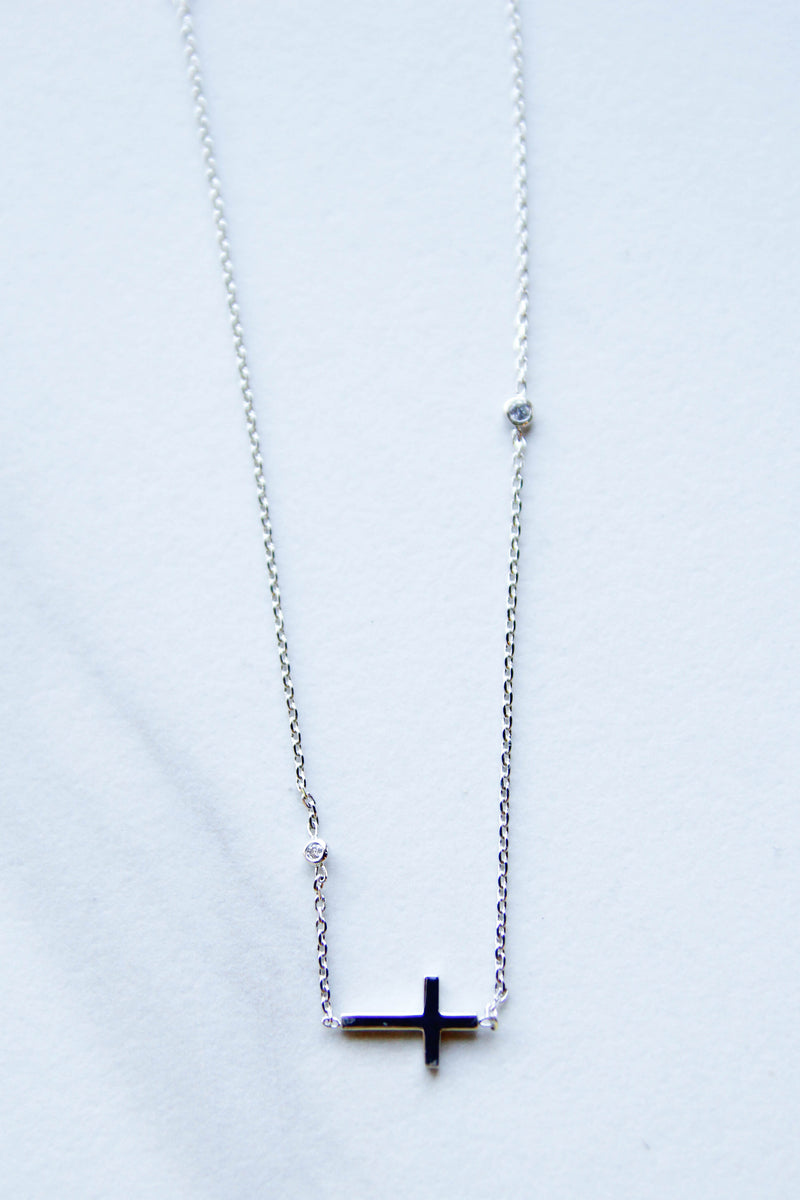 Simple with shine Cross Necklace