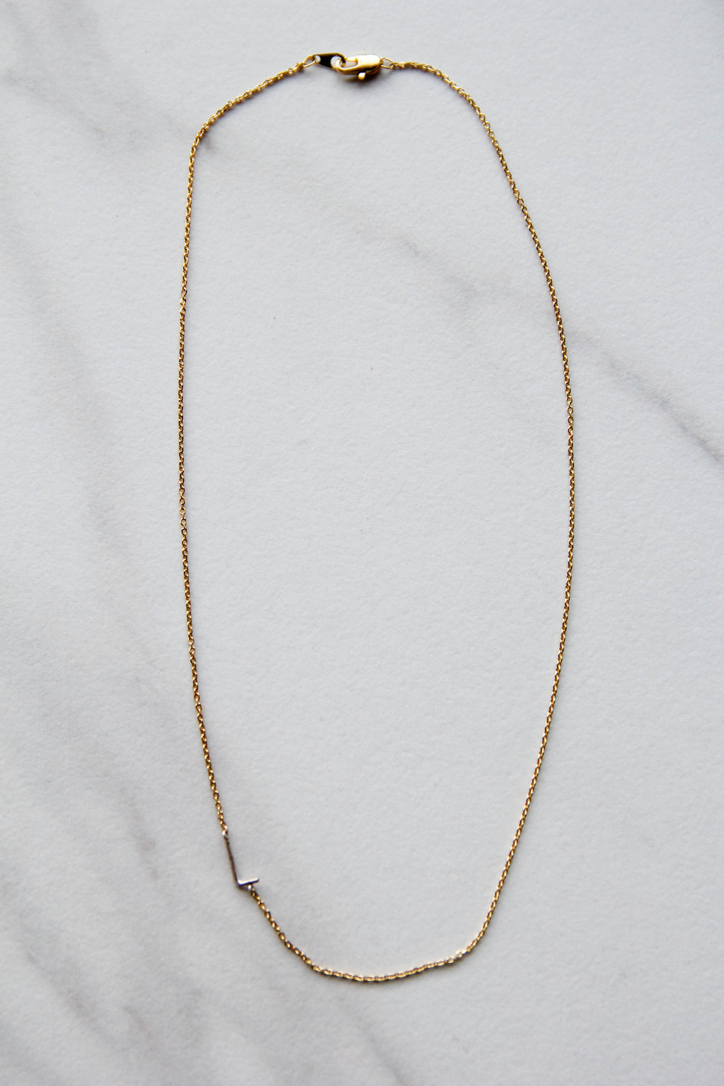 Simple Silver L Necklace