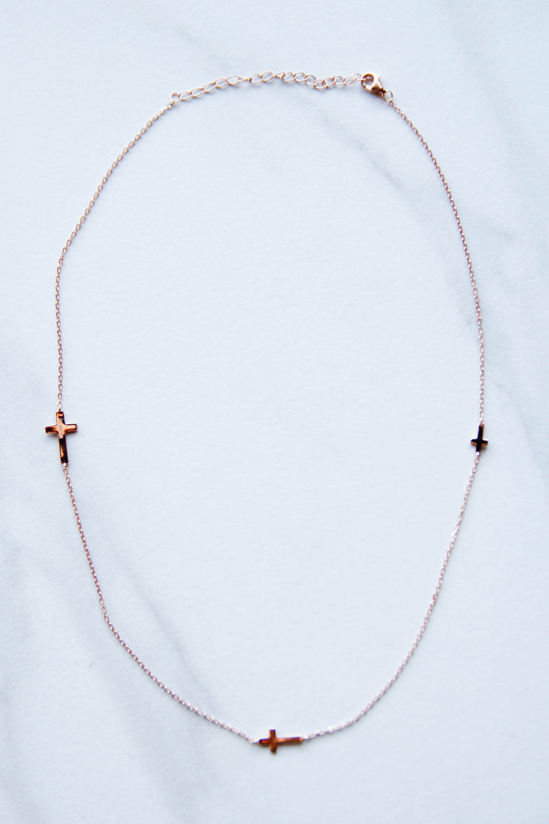 Rose Gold Triple Cross Necklace