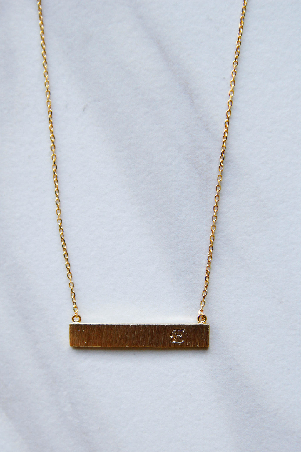 Gold Engraved Initial E Necklace