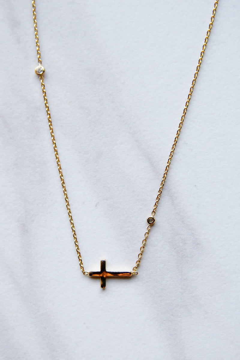 Gold Cross with Shine Necklace