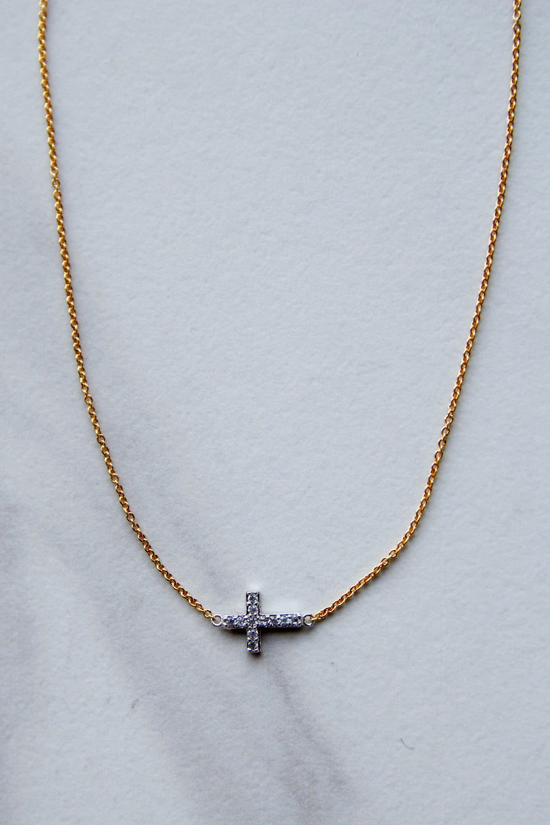 Silver Cross with Gold Chain Necklace