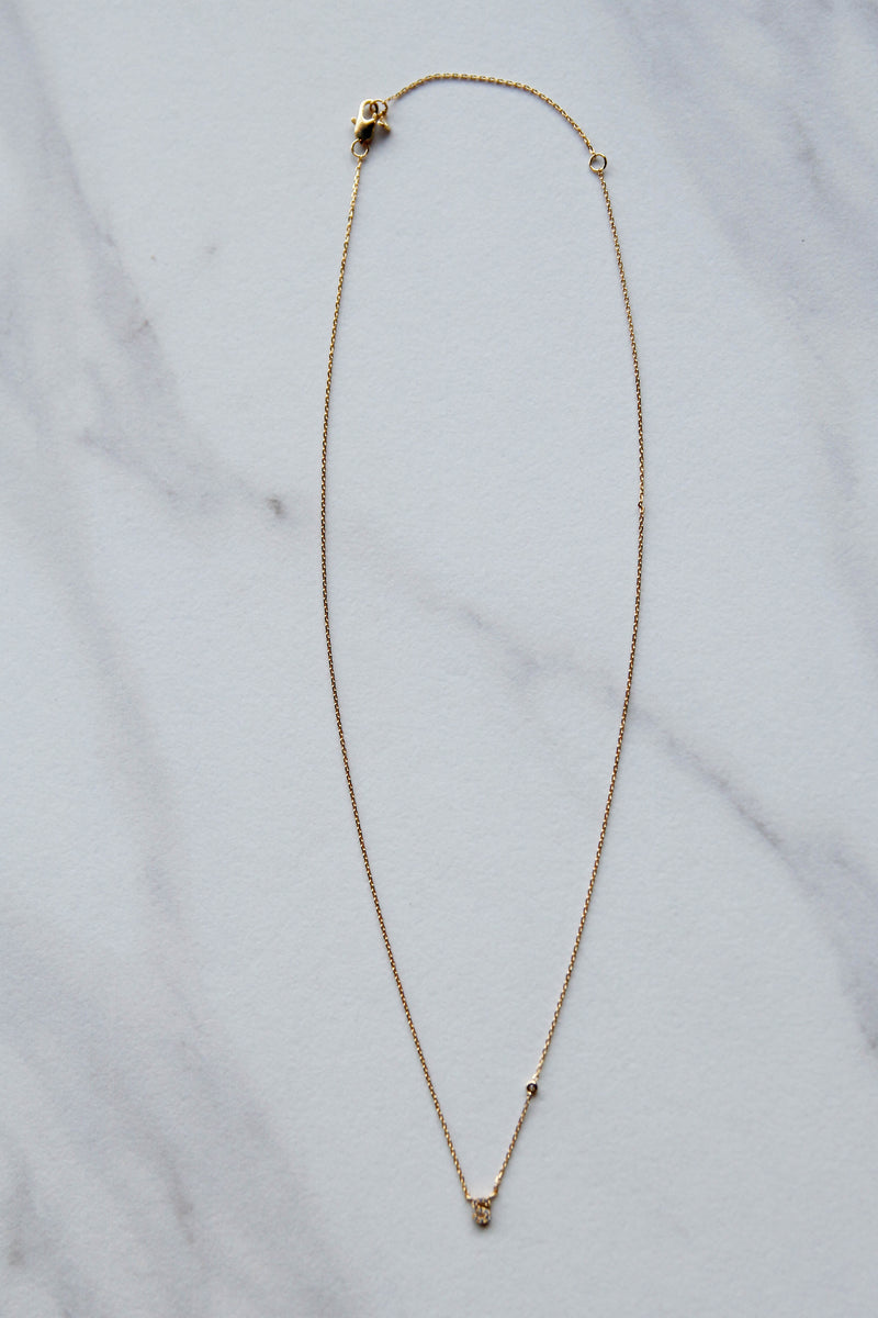 Micro Gold S initial necklace