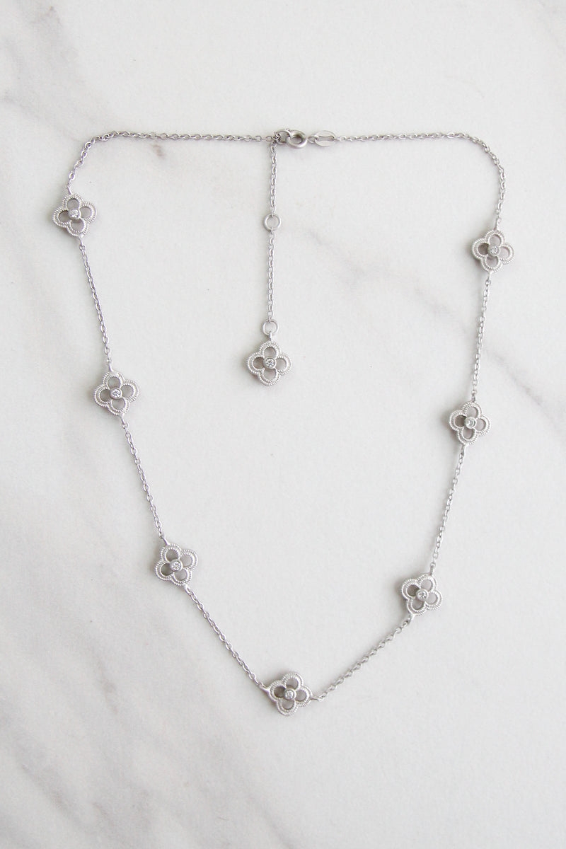Jeweled Clover Necklace - Silver