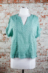Cool Shoulder Eyelet Top- Sage