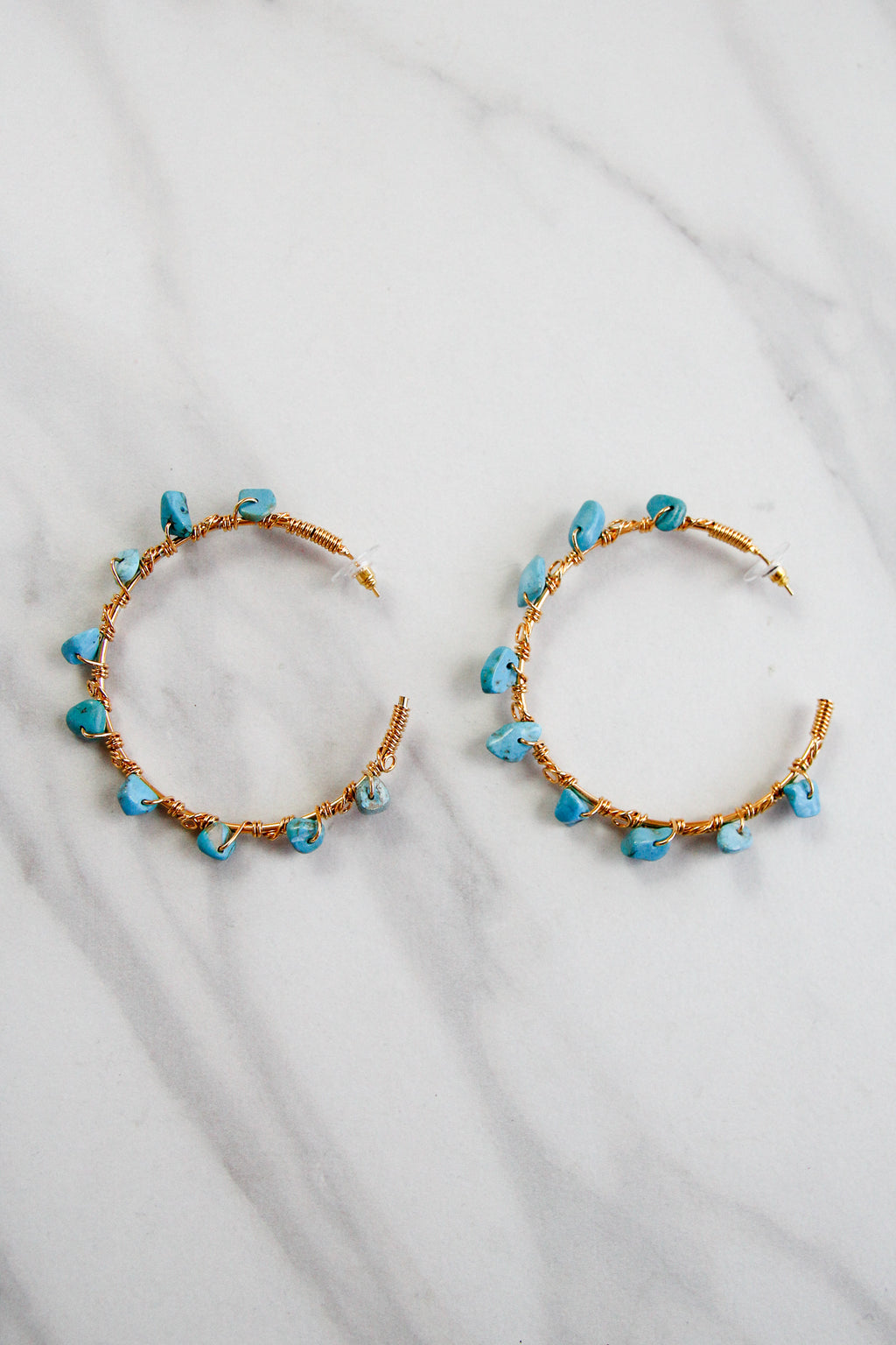 A Touch Of Turquoise Hoops - Gold