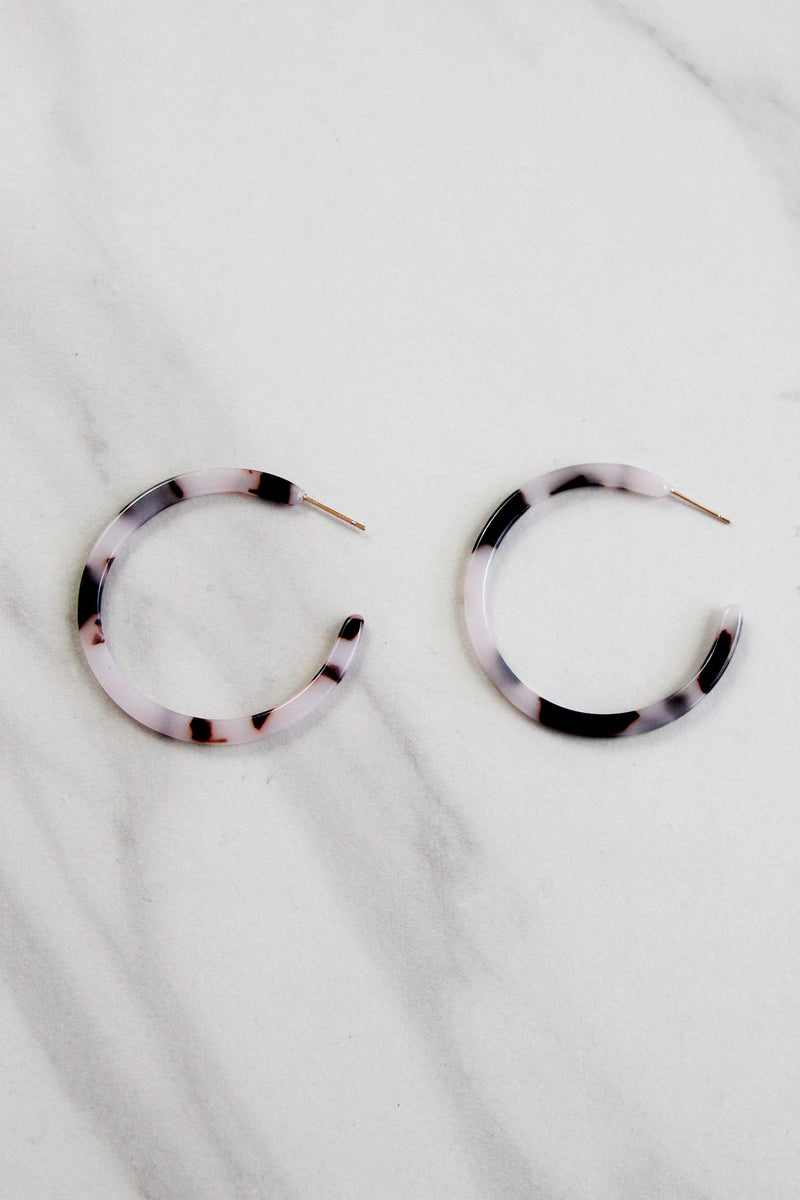Thin Acrylic Hoops - Cream Tortoise