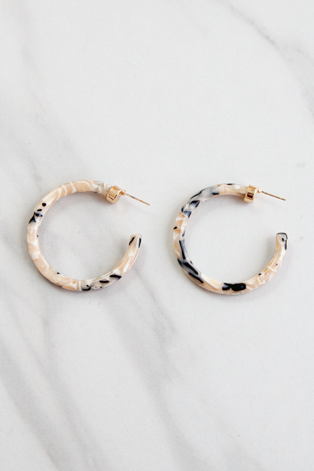 Thick Acrylic Hoops - Ivory Tortoise