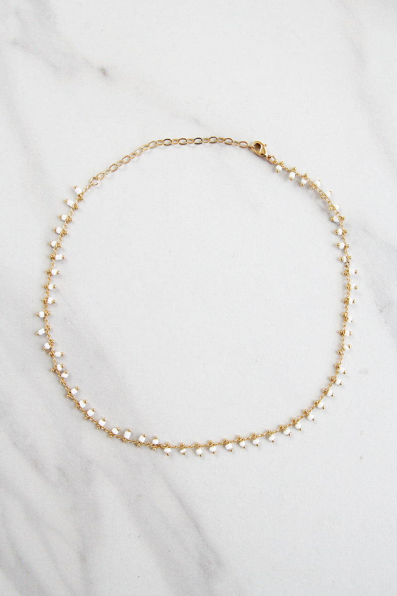 Gold Beaded Drip Choker - White