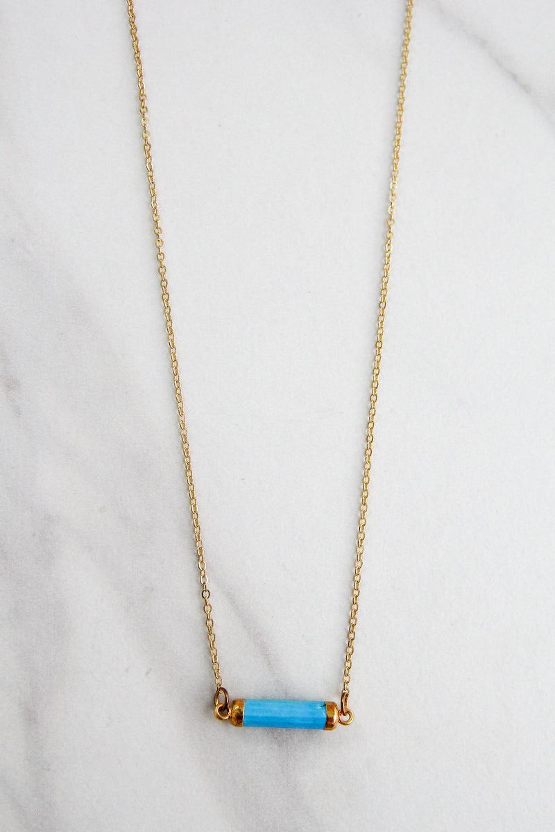 Gold Mini Prism Necklace - Turquoise