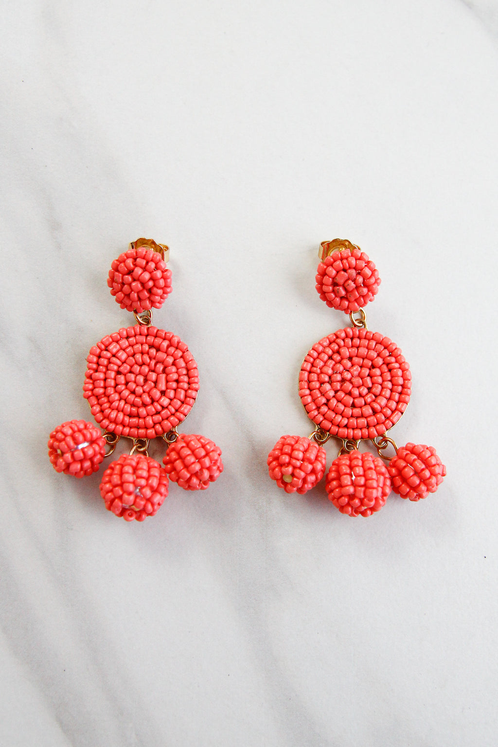 Gumball Beaded Earrings - Coral