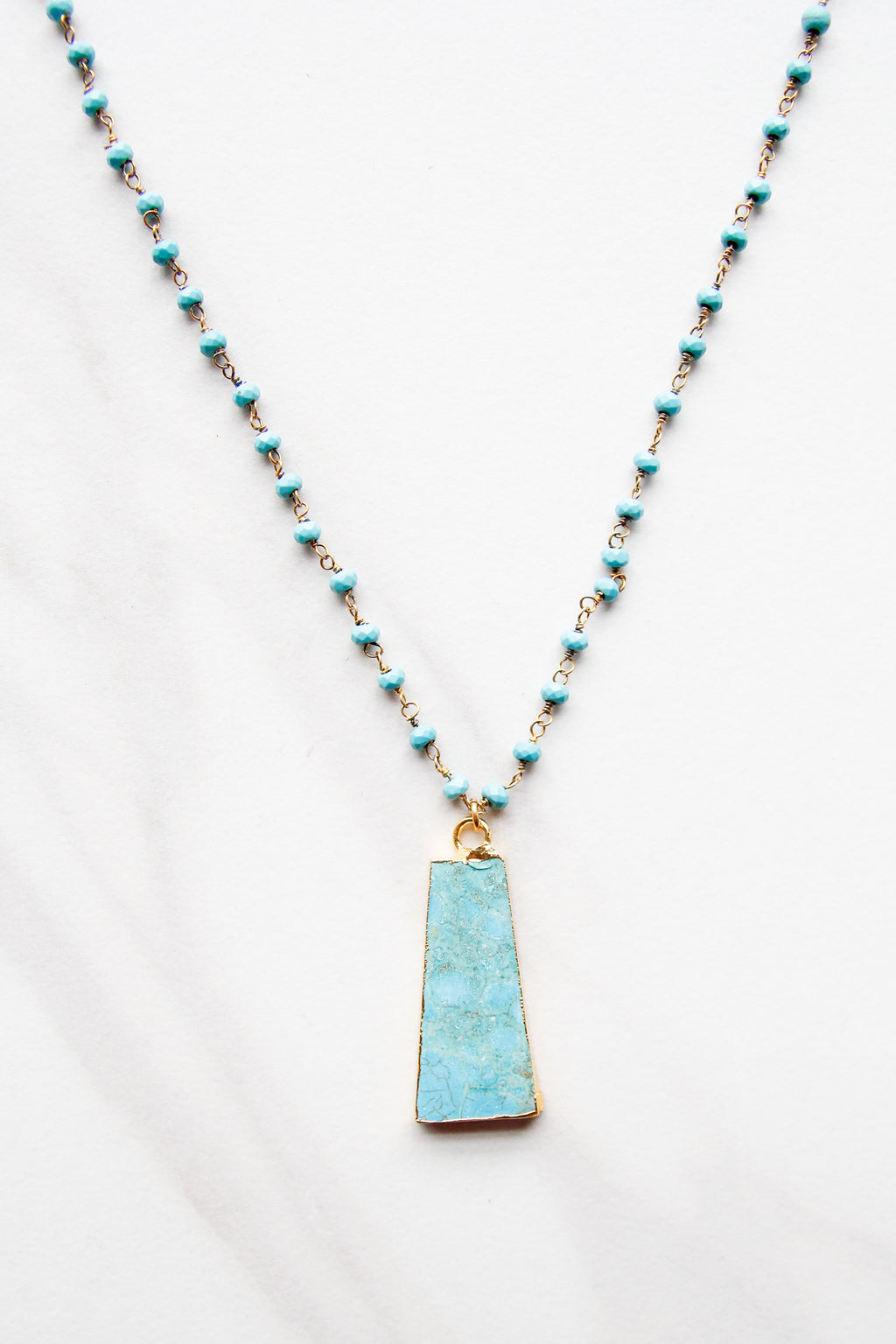 Bright Blue Offset Square Necklace