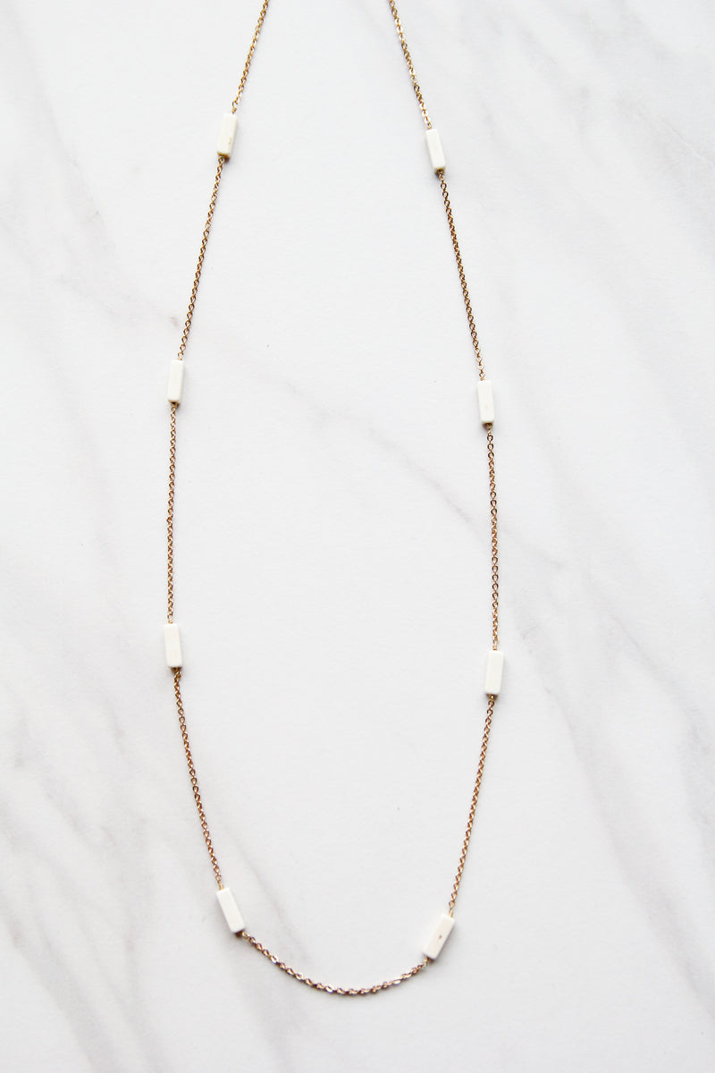White Spaced Apart Necklace