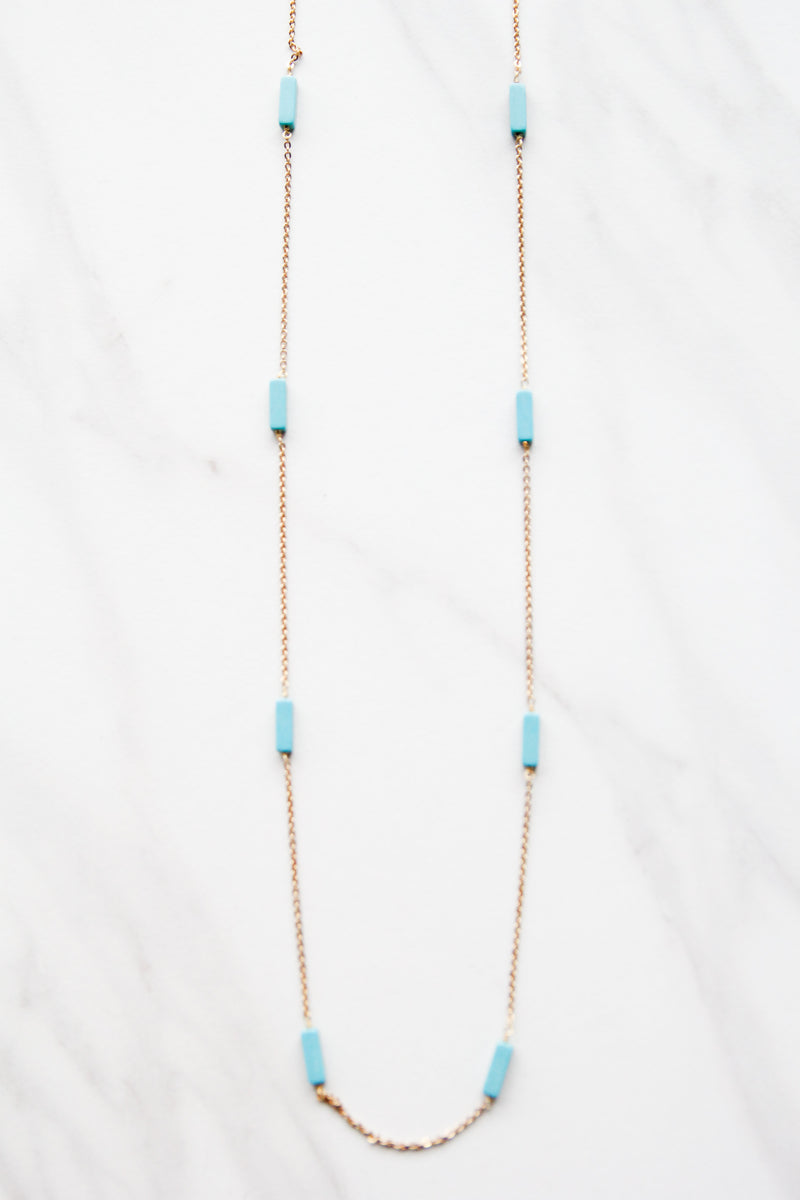 Dark Turquoise Spaced Apart Necklace