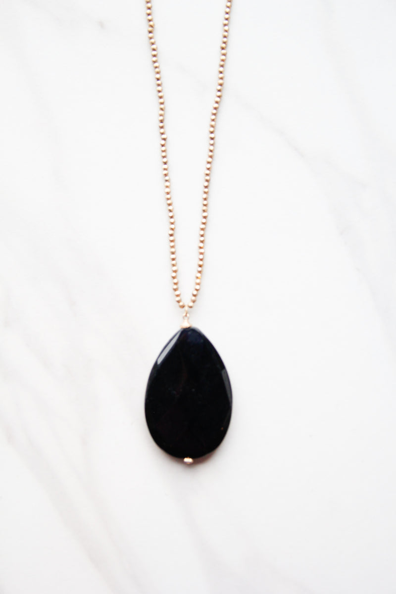 Smooth Black Oval Necklace